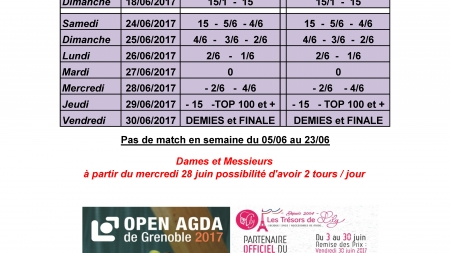 Le planning prévisionnel de l'Open AGDA de Grenoble 2017