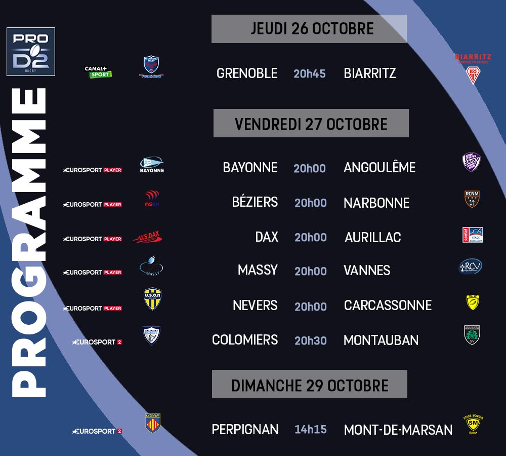 Pro D2 : le programme complet de la 10ème journée