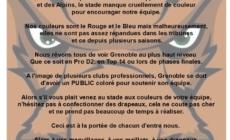 Communiqué des Mammouths au public et aux supporters du FCG