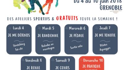 Le programme des ateliers journaliers de la semaine sport santé de Grenoble