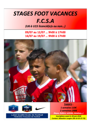 Stage Foot Vacances au FCSA