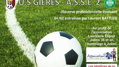 Le match de gala entre Gières et l'AS Saint-Etienne B se fera au profit de Leucémie Espoir Julien 38