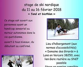 #Handisport – Stage de ski nordique du 11 au 16 février 2018