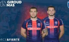 Paulin Mas et Steven Giroud (FCG) avec l'équipe de France U
