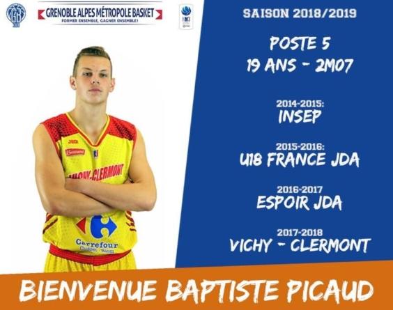 BaptistePicaud,première recruedu Grenobles Alpes Métropole Basket