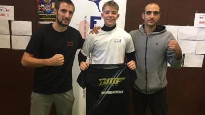 Valentin Bon-Mardion vainqueur de la coupe de France de kick boxing en combat (senior – de 67 kg)