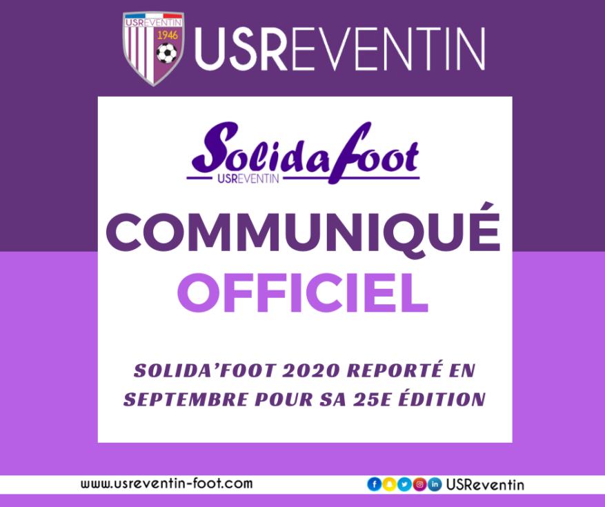 Communiqué officiel : Solida'Foot 2020 reporté en septembre pour sa 25e édition
