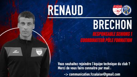 Renaud BRECHON nouveau responsable Seniors 1 de Salaise/Rhodia