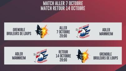 Les Brûleurs de Loups recevront Mannheim le 7 octobre