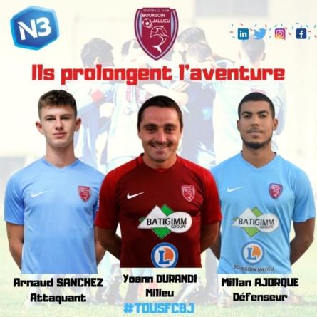 Trois nouvelles prolongations au FC Bourgoin-Jallieu