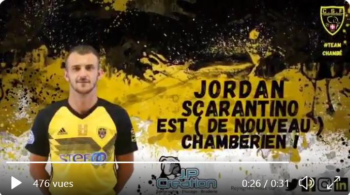 Retour à Chambéry pour Jordan Scarantino